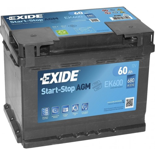 Акумулятор Exide AGM Start-Stop 60 Ah (EK600)